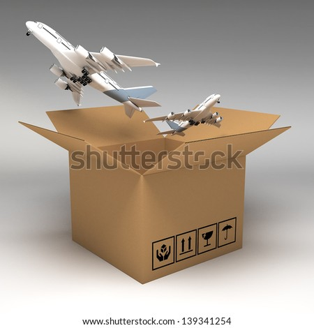 Cardboard boxes 3d illustration