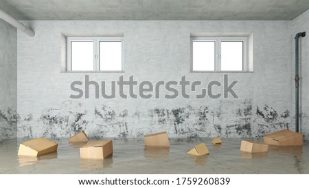 Cardboard boxes float in the water after water damage in the basement due to flooding or flooding (3D Rendering) Foto stock ©