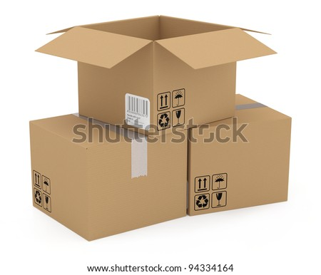 Cardboard boxes isolated on white. 3D model