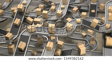 Cardboard boxes on conveyor belts and rollers in distribution warehouse, Delivery and packaging service concept background. 3d illustration ストックフォト ©