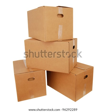 Cardboard boxes on stacking