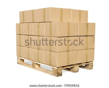 Cardboard boxes on wooden palette isolated on white + clipping path - stock photo