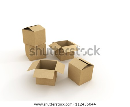 Cardboard boxes over white background. 3d illustration