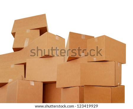 Cardboard boxes stacking