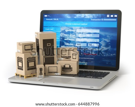 Cardboard boxes with appliaces on PC laptop keyboard. E-commerce, online shopping and delivery concept. 3d illustration.