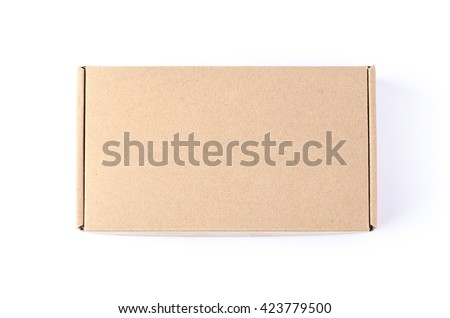 Cardboard brown box or Craft package box isolated top view on a white background Foto stock ©