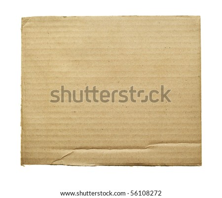 Cardboard cloae-up isolated over the white background