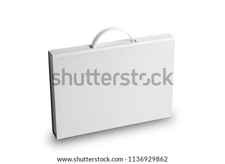 Cardboard document case with a plastic handle, or briefcase folder, isolated on white Foto d'archivio ©