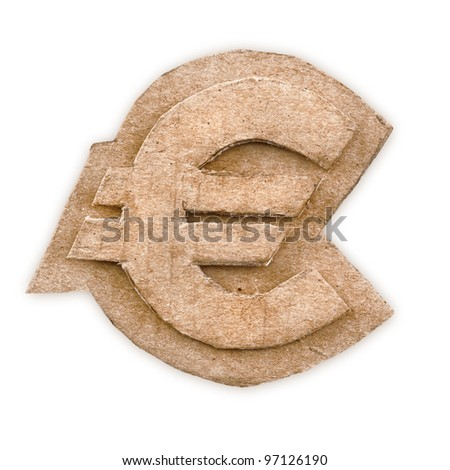 cardboard euro sign on white background