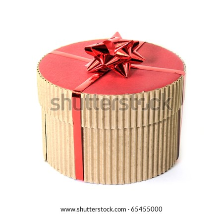 Cardboard gift box, isolated on white background