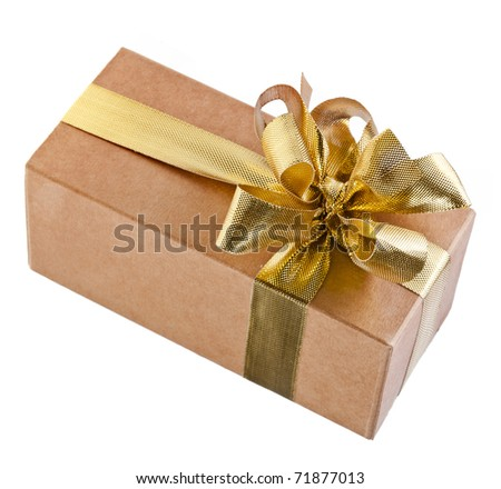 cardboard gift box with gold bow