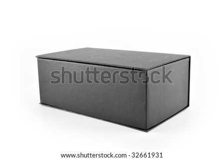 Cardboard gray box on white background.