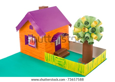 cardboard handicraft - a house with a tree, my daughter's work