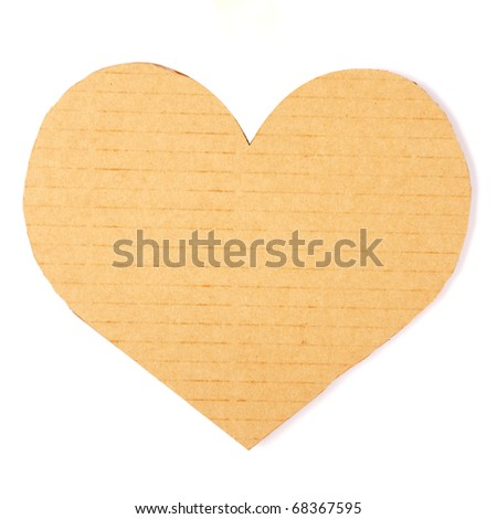 Cardboard heart on a white background