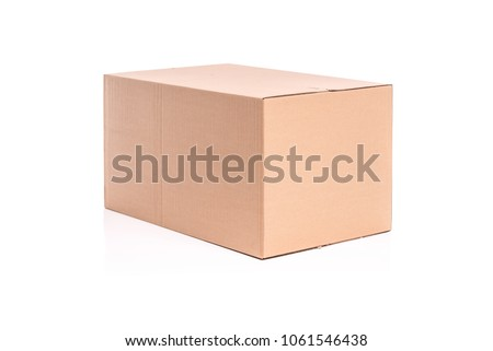 Cardboard mail box isolated on white background.