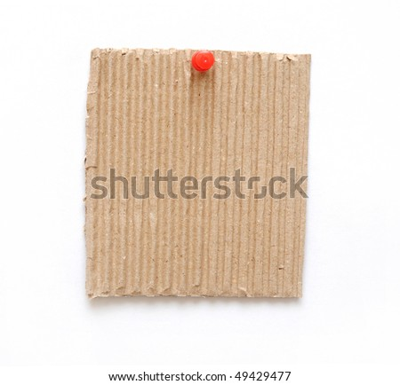 cardboard on pin isolated on white background