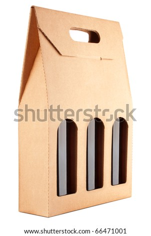 cardboard pack with three bottles of wine isolated on white background