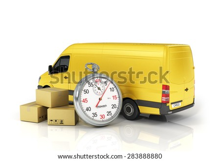 Cardboard package box with stopwatch and delivery vehicle on the white background. Fast delivery concept.