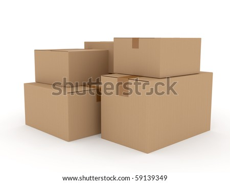 Cardboard package over white. 3d rendered image