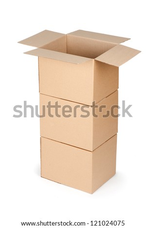 cardboard packaging boxes isolated on white background