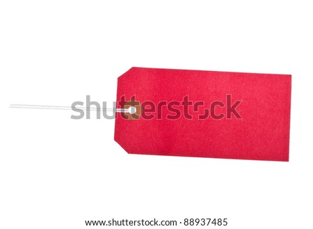 Cardboard red label isolated against white