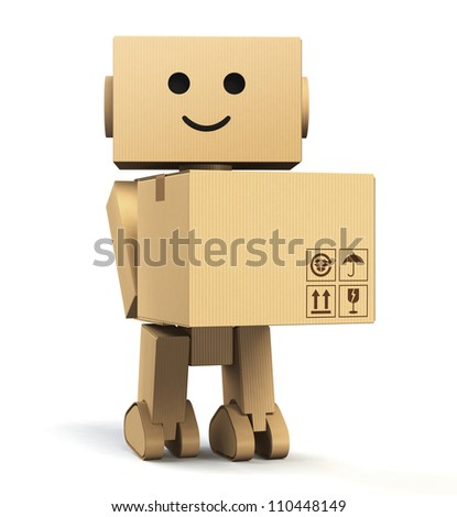 cardboard robot carrying a box with blank space