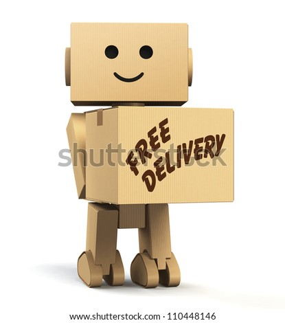 "cardboard robot  carrying a box, with ""free delivery"" text"