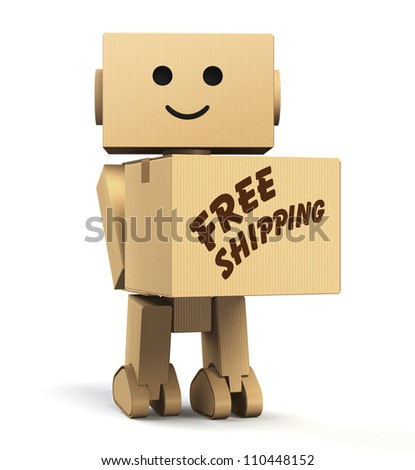 "cardboard robot carrying a box, with ""free shipping"" text - stock photo"