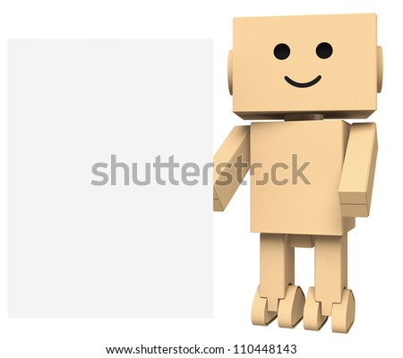 cardboard robot with blank sign space - stock photo
