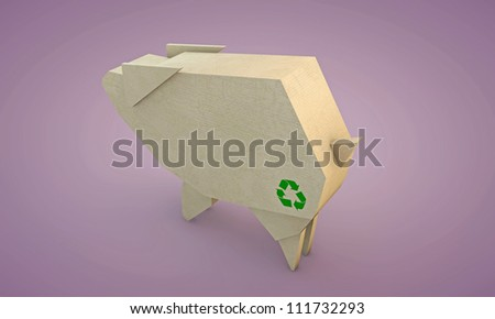 cardboard shaped like a pig isolated on pink background