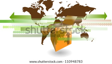 Cardboard shipping box with world map for international shipping