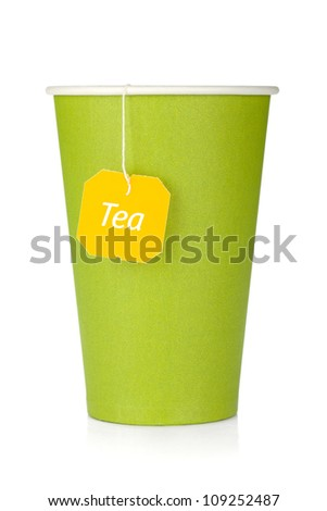 Cardboard tea cup with teabag. Isolated on white background