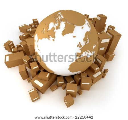 Cardboard textured world Atlantic oriented with a heap of packages