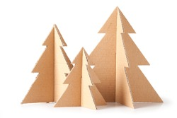 Cardboard trees on white background. This file is cleaned, retouched and contains clipping path.