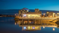 Cardiff bay during sunset in Cardiff, Wales.