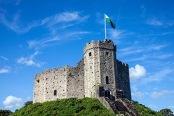 Cardiff Castle Wales UK in Castle Street is a 12th century Norman fort which is a popular tourism travel destination visitor attraction landmark of the city stock photo image