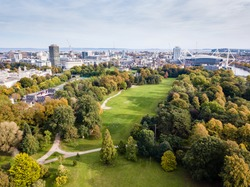 Cardiff's Bute Park in the autumn viewed from the air