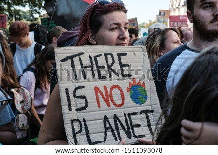 Cardiff, UK. 20 September 2019. Demonstrators of all ages at the Climate Strike. National Museum of Wales, Cardiff. #1511093078
