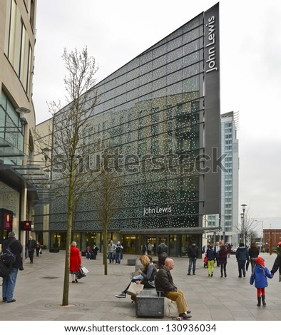 CARDIFF, WALES - MARCH 1: the exterior of a John Lewis department store on March 1, 2013 in Cardiff, Wales. John Lewis announced a bonus of 17% for its 84,700 staff on March 7, from a pool of �£211m.