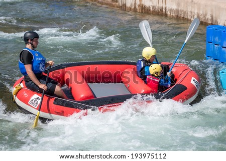 CARDIFF, WALES/UK - MAY 18 : Water Sports at the Cardiff International White Water Centre in Cardiff Wales on May 18, 2014. Unidentified person(s)