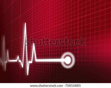 Cardiogram illustration with grid background - stock photo