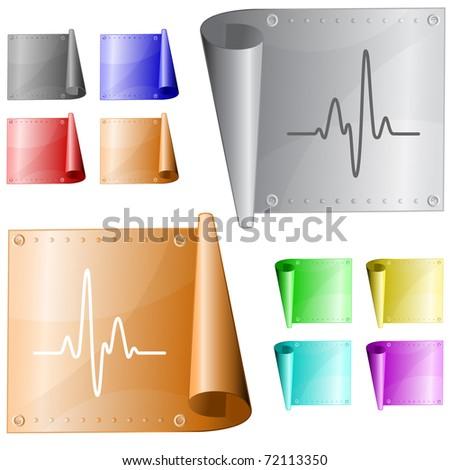 Cardiogram. Metal surface. Raster illustration. Vector version is in my portfolio.