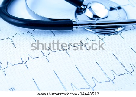 Cardiogram with stethoscope