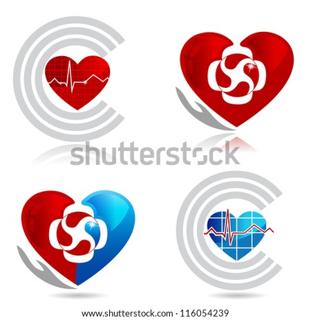 Cardiology, medical and healthy heart symbols. The heart symbolizes blood circulation in the heart and throughout the body. The hand symbolizes the healing and protection of blood circulation system..