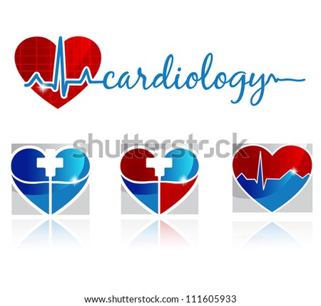 Cardiology, vascular and health care symbols - stock photo