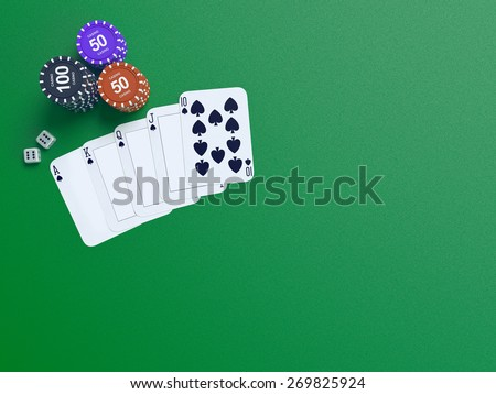 Cards and chips for poker on green table.  High resolution.