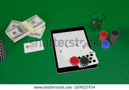 Cards and chips for poker on tablet.  High resolution.