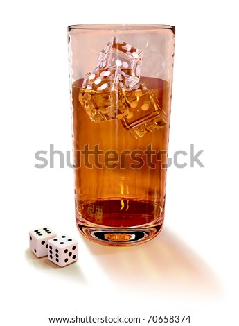 cards and dice with cocktail in the casino