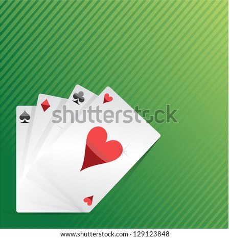 Cards and pack of playing cards on the table illustration
