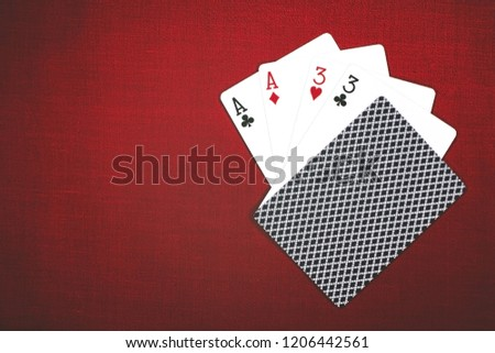 Cards for poker on a red background, Two Pairs 2 Pair . #1206442561
